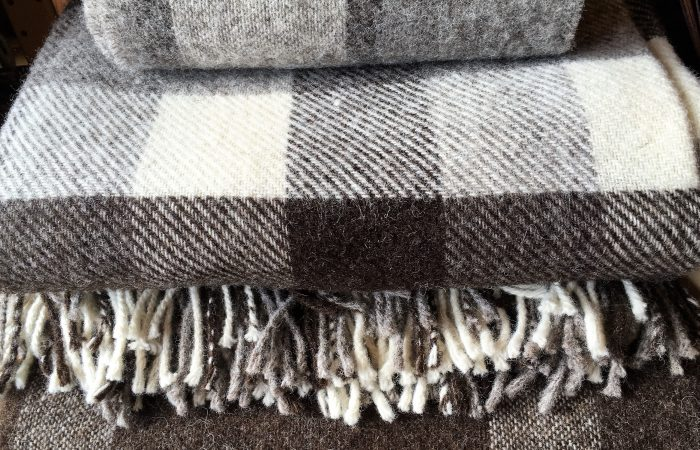 Beautiful blankets made from Forget me not farm holidays wool