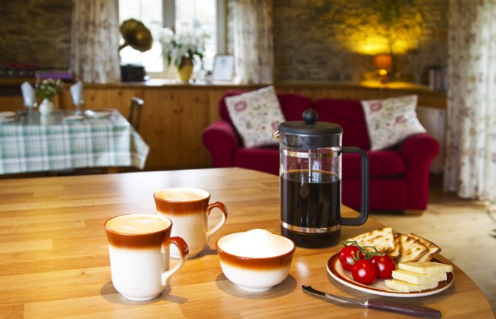 Fresh Coffee, Cheese, Tomatoes and Biscuits at forgetmenot